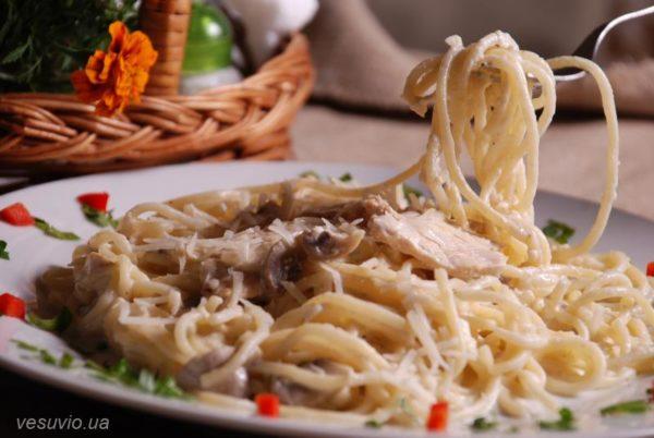 Spaghetti Alfredo with chicken
