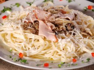 Спагеті з шинкою та грибами